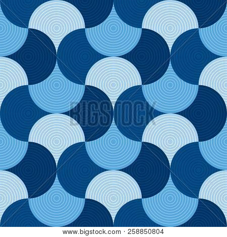 Blue Geometric Wallart Motif. Water And Sea Inspired Seamless Pattern For Fabric And Other Surface D