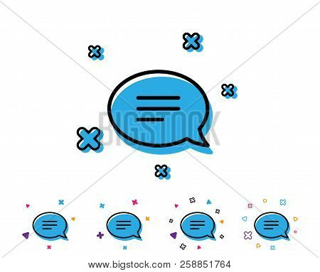 Chat Line Icon. Speech Bubble Sign. Communication Or Comment Symbol. Line Icon With Geometric Elemen