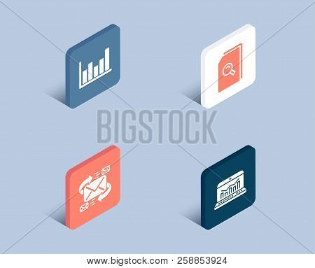 Set Of E-mail, Search Files And Column Chart Icons. Web Analytics Sign. Communication By Letters, Ma