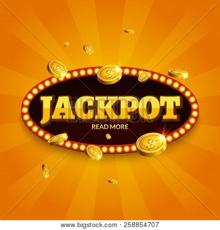 Jackpot Gambling Retro Banner Decoration. Business Jackpot Decoration. Winner Sign Lucky Symbol Temp