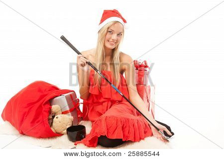 Young attractive blonde woman with presents and a golf club