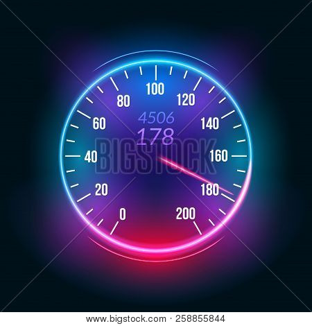 Car Speedometer Dashboard Icon. Speed Meter Fast Race Technology Design Measurement Panel.