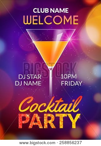 Cocktail Party Poster Vector Backgorund With Alcohol Drinks. Cocktail Party Invitation Flyer Design.