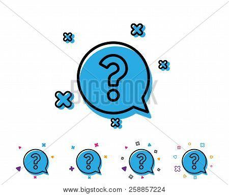 Question Mark Line Icon. Help Speech Bubble Sign. Faq Symbol. Line Icon With Geometric Elements. Bri