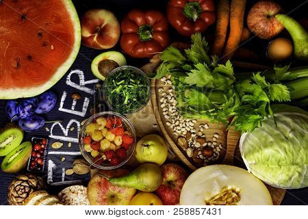 High Fiber Foods On A Wooden Background. Flat Lay Food Highest In Fiber. Healthy Diet Eating. Top Vi