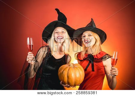 Frightened Friends At A Halloween Party. Best Friends Girls Celebrates Halloween. Happy Brightful Po
