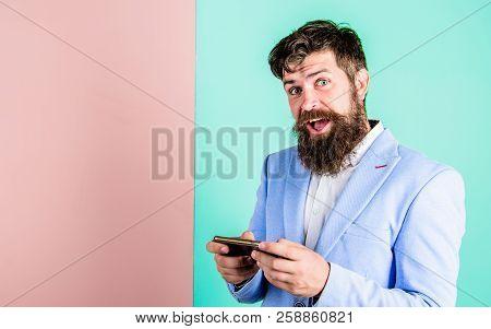 Social Media Marketing. Modern Gadget Smartphone With Online Access. Businessman Send Message. Busin