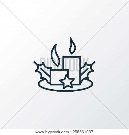 Christmas candles icon line symbol. Premium quality isolated paraffin element in trendy style. poster