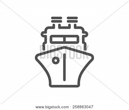 Ship Line Icon. Watercraft Transport Sign. Shipping Symbol. Quality Design Element. Classic Style Sh