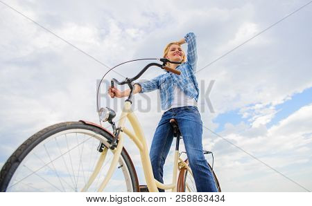 Woman Feels Free While Enjoy Cycling. Most Satisfying Form Of Self Transportation. Cycling Gives You