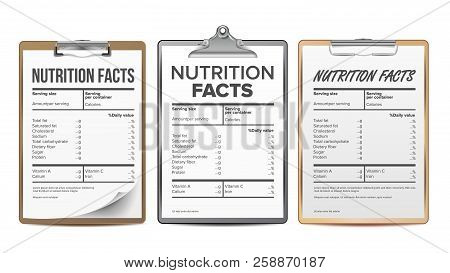 Nutrition Facts Vector. Blank, Template. Diet Calories List. For Box. Food Content. Fat Information.