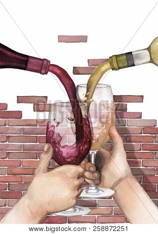 Watercolor Red And White Wines Pouring From A Bottles Into Glasses Holding In Hands.