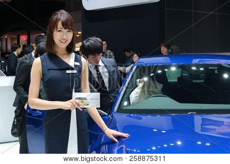 2017 November 03. Tokyo Japan. A Pretty Woman Introducing New Volkswagen Car, Golf-r Type At Tokyo M