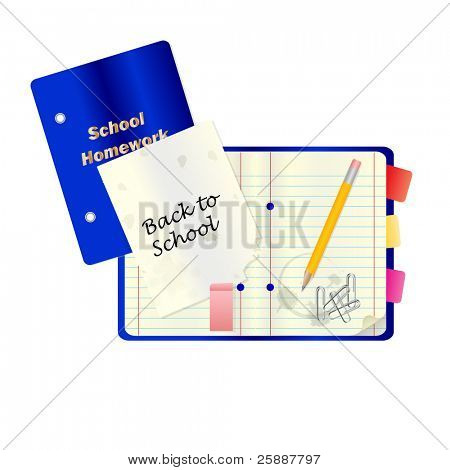 A back to school or education concept  with notepad and other school stationary isolated on white