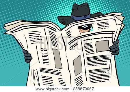 Spy Watches Through The Newspaper. Comic Cartoon Pop Art Retro Vector Illustration