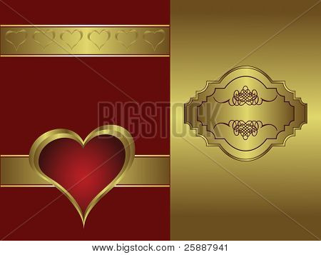 A vector valentines background with a   gold heart on a deep red backdrop  with a gold plaque and  room for text