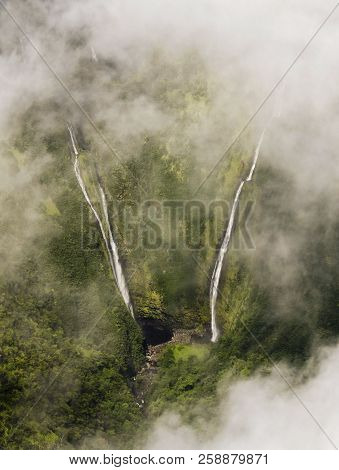 A Pair Of Waterfalls In The Mist, West Maui Mountains, Hawaii, Inaccessible To All But Helicopters