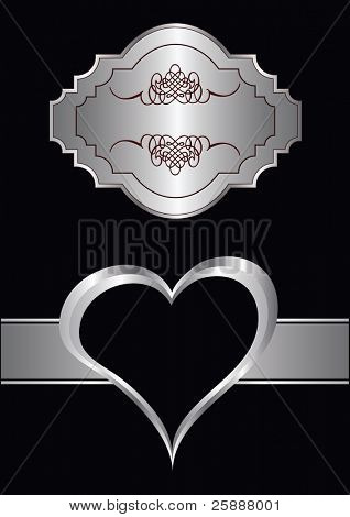 A vector valentines background with silver hearst on a black backdrop  with a silver plaque and  room for text