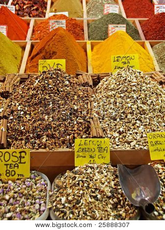 Differently Coloured and Flavored Spices in Spice Bazaar of Istanbul