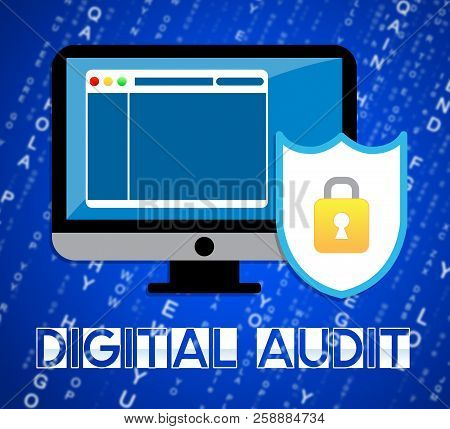 Digital Audit Cyber Network Examination 2D Illustration