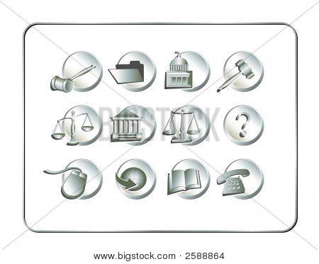 Legal Icon Set Silver