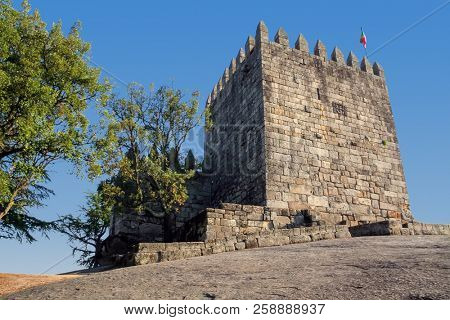 Povoa de Lanhoso, Portugal. Keep of castle where the first king of Portugal imprisoned his mother, after he defeated her in battle in the crucial moment of the independence