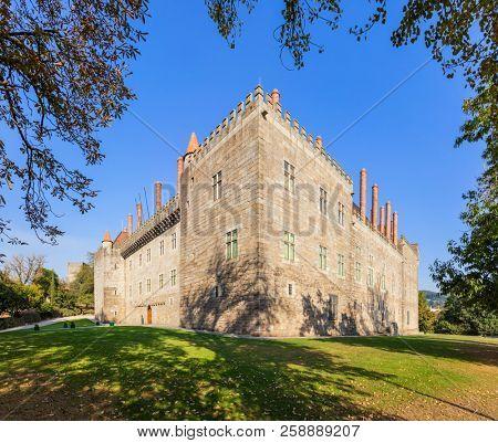 Guimaraes, Portugal. Braganza Dukes Palace or Palacio dos Duques de Braganca, a medieval palace and museum.