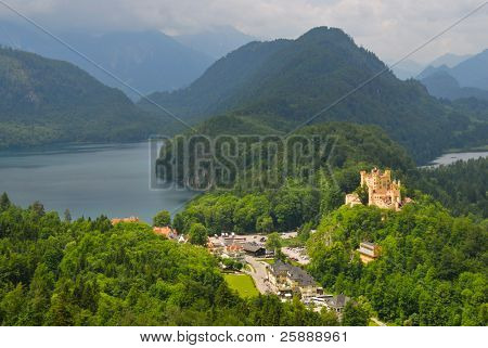 Landscape of Bavarian Alps in Germany, Hohenschwangau Castle view