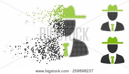 Farmer Boss Icon In Fragmented, Dotted Halftone And Original Versions. Particles Are Organized Into