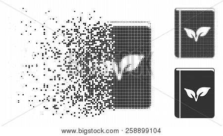 Flora Book Icon In Fragmented, Dotted Halftone And Undamaged Variants. Points Are Grouped Into Vecto