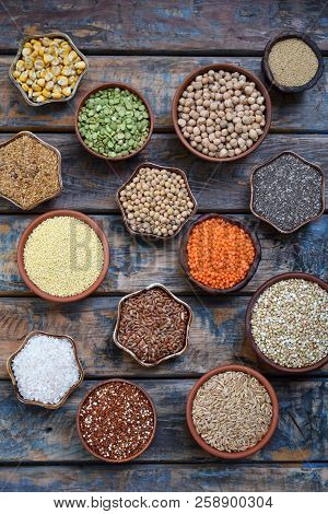 Gluten-free Concept. Grains, Cereals And Seeds For Baking. Millet, Quinoa, Corn, Buckwheat, Rice, Am