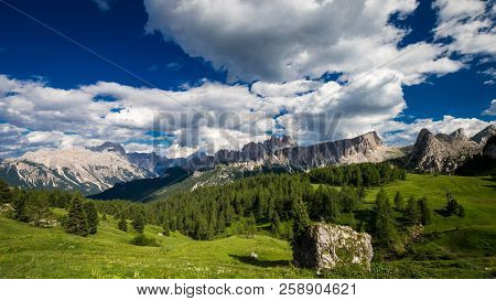 Dolomites Mountains, North Italy. Scenic View In Dolomiti, Alto Adige, South Tyrol