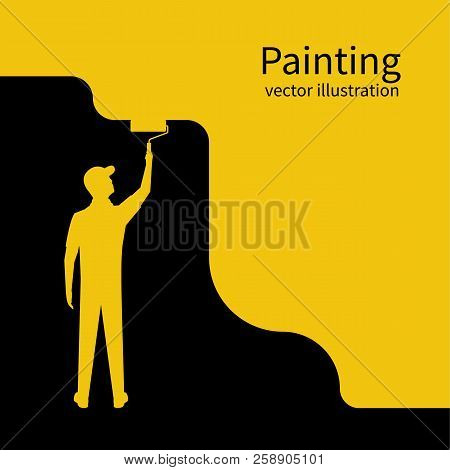 Painter Paints Wall Silhouette. Man Is Holding A Paint Roller In Hand. Vector Illustration Of Flat D