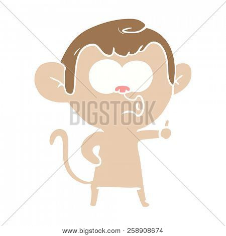 flat color style cartoon hooting monkey poster