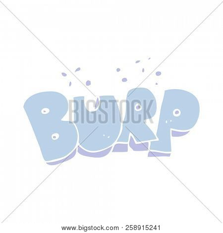 flat color illustration of burp text poster