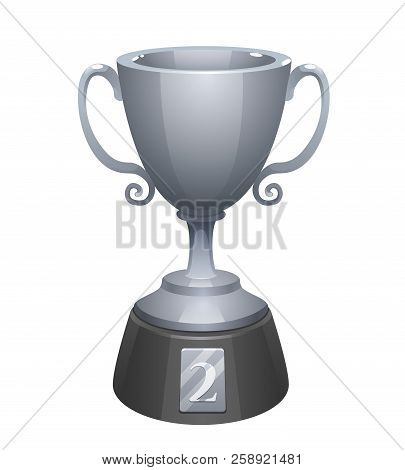 Silver Cup Trophy Award With Base. Prize For The Second Place. Shiny Trophy On White Background.