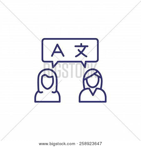 Conversation Line Icon. Women Speaking English And Chinese. Translation Concept. Can Be Used For Top