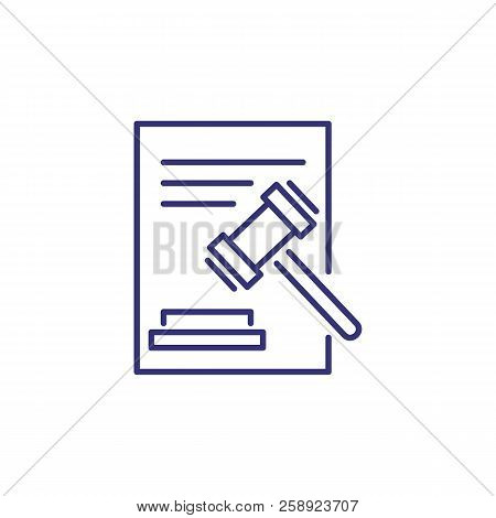 Court Decision Line Icon. Judge Gavel And Document. Justice Concept. Can Be Used For Topics Like Cou