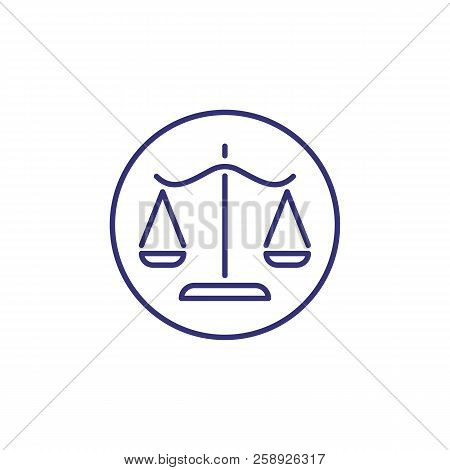 Scale Of Justice Line Icon. Balance, Equal, Courtroom, Trial, Circle, Emblem. Justice Concept. Can B