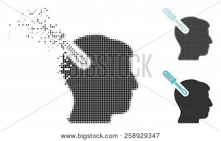 Head Surgery Screwdriver Icon In Dispersed, Pixelated Halftone And Undamaged Variants. Elements Are