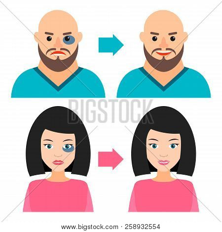 Young Man And Girl With A Bruise Or Without. Before And After. Vector Illustration. Recovery, Healin