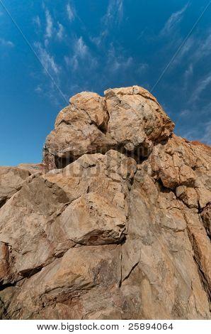 Mountain peak against sunny blue sky, Spain poster