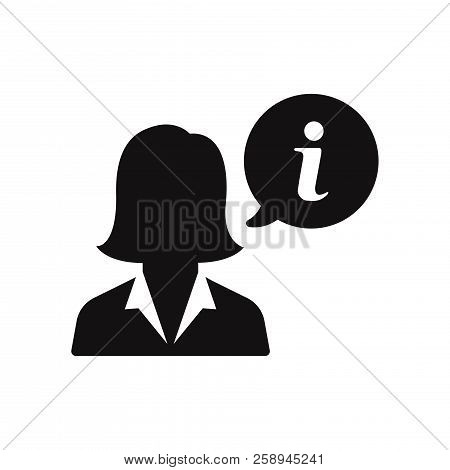 Businesswoman And Info Sign Icon Isolated On White Background. Businesswoman And Info Sign Icon In T