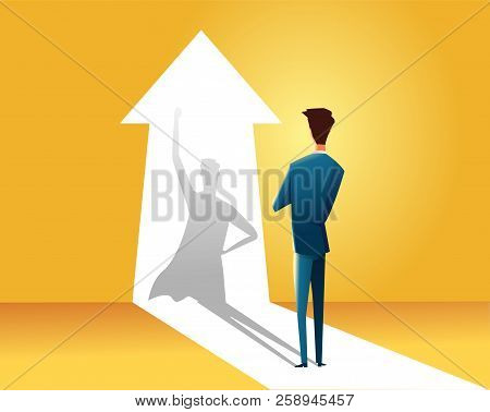 Businessman With Superhero Shadow Vector Concept. Business Symbol Of Ambition, Success, Motivation,