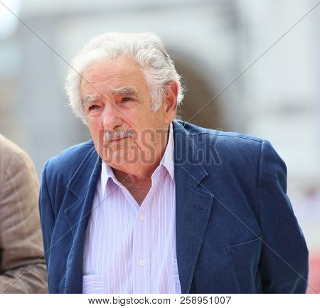 Former president of Uruguay Pepe Mujica walks the red carpet ahead of the 'El Pepe, A Supreme Life' screening during the 75 Venice Film Festival at Sala Grande on  September 3, 2018 in Venice, Italy