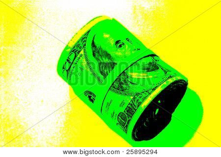 pop art version of one hundred dollar bills rolled up and held together with a rubber band on a yellow and white background