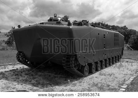Black And White Photo Of A Vintage Us Military Armored Personnel From The Vietnam War Era On Display