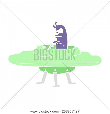 flat color illustration of flying saucer