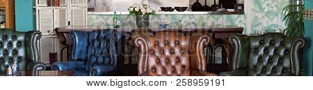 Comfortable Leather Chairs In A Sidewalk Cafe In A Small Australian Town