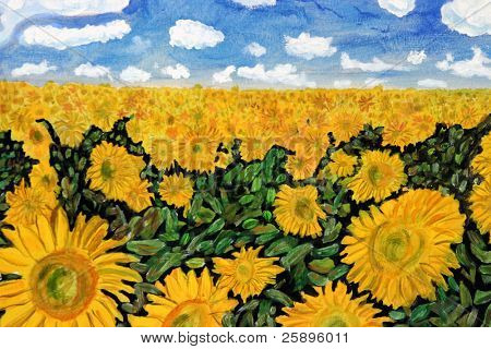 """my origional artwork, titled """"sunflowers"""" accrylic on canvis depicting a beautiful sunflower field with a blue sky and fluffy white clouds. Cropped tight for a close"""